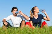 Young sport couple was jogging on a green summer meadow but is resting now, replenishing themselves