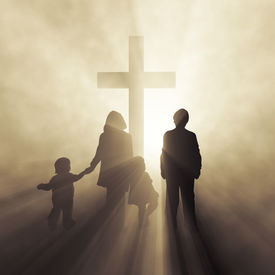 picture of christian cross  - christian family before a cross - JPG