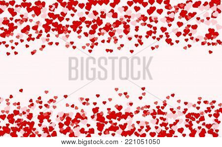 poster of Heart confetti of Valentines petals falling on pink background. Red pattern of random falling hearts confetti. Chaotic shape on white valentine background. Border design element for Valentines day.