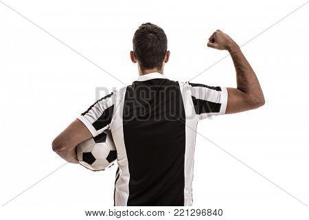 Soccer fan celebrating on white