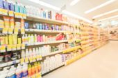Blurred Hair Care, Skin Care And Cosmetic At Pharmacy Store poster