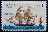 A Greek Stamp Showing A Ship With Sails