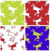 Reindeer xmas seamless patterns set