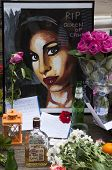 LONDON - JULY 27: Her fans pay tribute to Amy Winehouse in front of her house on Camden square, on J