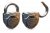 closed and opened combination padlock
