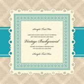 image of wedding invitation  - Retro invitation greeting card with ornament and old textured pattern - JPG