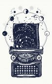 Typewriter Tattoo. Symbol Of Imagination, Literature, Philosophy, Psychology, Imagination. Antique T poster