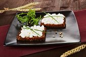 Dark Bread Slices With Cottage Cheese. Delicious Healthy Breakfast.