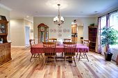 picture of wainscoting  - traditional diningroom with oak furniture and oak floors - JPG