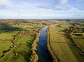River Thames aerial photo in Berkshire countryside, UK poster