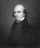John Flaxman (1755-1826). Engraved by R.Woodman and published in The Gallery Of Portraits With Memoirs encyclopedia, United Kingdom, 1837.