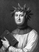 Francesco Petrarca aka Petrarch (1304-1374). Engraved by R.Hart and published in The Gallery Of Portraits With Memoirs encyclopedia, United Kingdom, 1833.