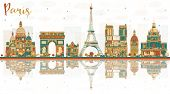 Paris France City Skyline with Color Landmarks. Business Travel and Tourism Concept with Historic Bu poster