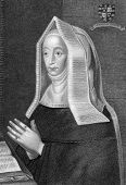Lady Margaret Beaufort (1441/1443-1509) Engraved by W.H.Mote and published in Lodge's British Portraits encyclopedia, United Kingdom, 1823.