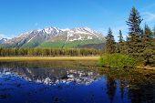 lake and snow mountain, Alaska