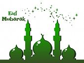 pic of eid mubarak  - green twinkle star background with mosque - JPG