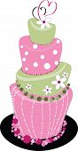 picture of mad hatter  - A Pink and Green wedding cake with hearts on top - JPG