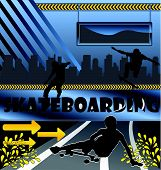 Urban vector composition with city skyline and skateboarder