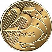 Vinte e cinco de moeda brasileira Centavo de vetor