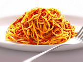 plate of spaghetti noodles