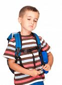Little Boy Elementary Student With Backpack And Sandwich Box Upset