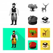 Isolated Object Of Traditional And Tour Sign. Set Of Traditional And Landmarks Vector Icon For Stock poster