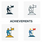 Achievements Icon Set. Four Elements In Diferent Styles From Human Resources Icons Collection. Creat poster
