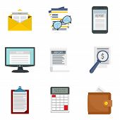 Expense Report Icon Set. Flat Set Of Expense Report Vector Icons For Web Design poster
