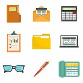 Accounting Icon Set. Flat Set Of Accounting Vector Icons For Web Design poster