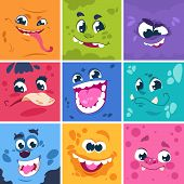 Monsters Faces. Cute Cartoon Characters With Different Funny Expressions, Comic Happy And Scary Mons poster