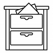 Archive Drawer Icon. Outline Archive Drawer Vector Icon For Web Design Isolated On White Background poster