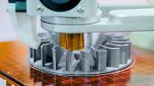 3d Printer Machine Printing Plastic Workpiece Look Like Metal At Futuristic Technology Exhibition -  poster