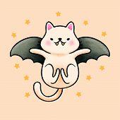 Bat Cat Flying Cartoon Hand Drawn Style Hand Drawn Cartoon Animal Character. Hand Drawing Vector. Ca poster