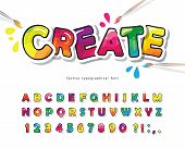 Cartoon Colorful Font For Kids. Creative Paint Abc Letters And Numbers. Bright Glossy Alphabet. Pape poster