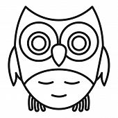 Adorable Owl Icon. Outline Adorable Owl Vector Icon For Web Design Isolated On White Background poster