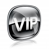 Vip Icon Black Glass, Isolated On White Background.