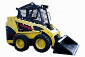 foto of skid  - A yellow skid loader or bobcat construction equipment isolated on a white background - JPG
