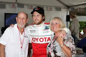 LOS ANGELES, CA - APR 16: Aj Buckley, Parents at the Toyota Grand Prix Pro Celeb Race at Toyota Gran