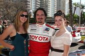 LOS ANGELES, CA - APR 16: Kim Coates and Daughters at the Toyota Grand Prix Pro Celeb Race at Toyota