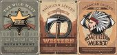 Wild West Crossed Guns, Tomahawk And Rope, Native Indian Vector. Retro American Weapon, Hatchet And  poster