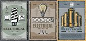 Electrical Service, Power Saving Light Bulbs, Sockets And Switches, Electric Batteries Vector. Save  poster