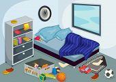 Illustration of a messy bedroom