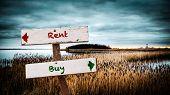 Street Sign To Buy Versus Rent poster