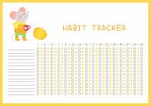 Habit Tracker For Month Flat Vector Template. Children Planner Page With Cute Mouse Layout. Autumn D poster