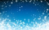 Snowfall Christmas Background. Flying Snow Flakes On Night Winter Blue Sky Background. Winter Wite S poster