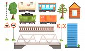 Railway Station Elements Set, Railway Passenger And Freight Transport, Road Signs, Bridge Vector Ill poster