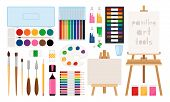 Painter Art Tools. Paint Arts Tool Kit Vector Illustration, Vector Watercolor Painting Design Artist poster