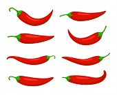 Closeup Chilly Pepper. Hot Red Chili Peppers, Cartoon Mexican Chilli Or Chillies Illustration, Vecto poster