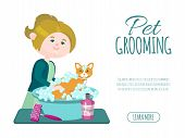 Pet Grooming Business Vector Illustration. Groomer Girl Is Washing Cute Ginger Cat With Shampoo. Adv poster