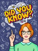 Concept Of Interesting Facts. Girl With Index Finger Up With Did You Know Message poster